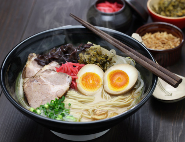 japanese tonkotsu ramen, pork bone broth noodles